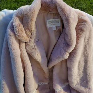 GYMBOREE kids Dusty Pink Fur Coat in XL or 14